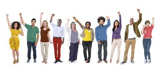 People Celebration Success Multiethnic Group Diversity Concept