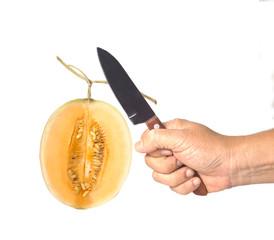 Hand cut a melon cantaloupe with knife