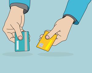 Businessman hands holding credit card, vector format