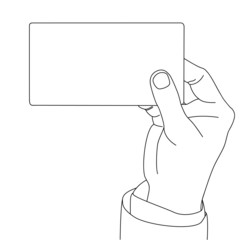 Drawing outline of Hand holding blank card, vector format