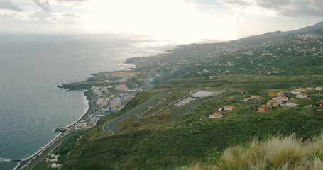 4K, Panned view over Los Cancajos, La Palma