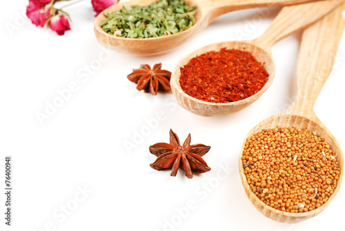 Canvas Kruiden 2 Different spices and herbs in wooden spoons isolated on white