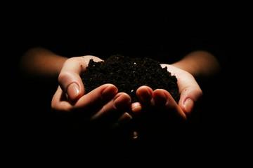 Handful of soil on dark background