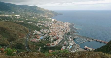 4K, Panned view over Santa Cruz De La Palma