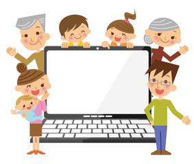 三世代家族とノートPC