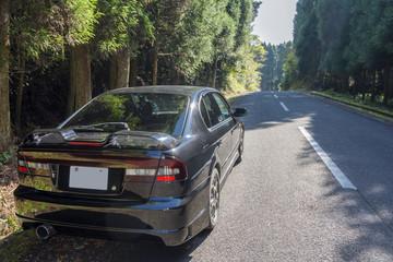 林道に止めた車のリアビュー