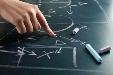 Hand under blackboard with scheme football game, closeup
