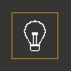 Simple stylish pixel icon bulb. Vector design