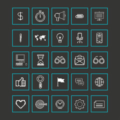 Set icons for business, internet and communication