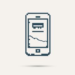 Simple stylish pixel icon phone. Vector design