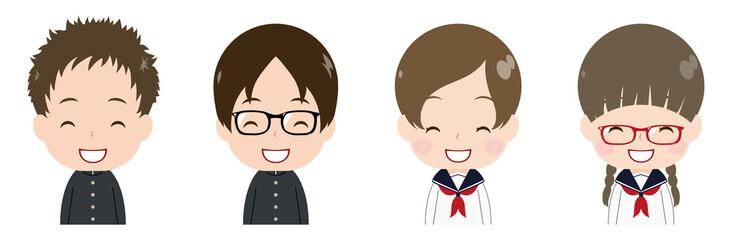 学生 顔 セット 笑顔