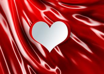 Heart shape on silk