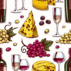 seamless background with wine - 2
