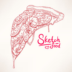 sketch with slice of pizza with shrimps
