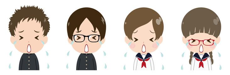 学生 顔 セット 号泣
