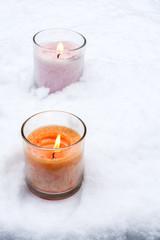 雪とグラスキャンドル