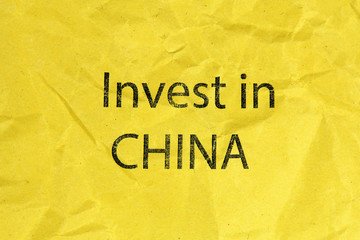 invest in China text oo paper