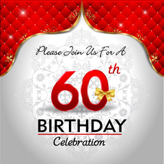 celebrating 60 years birthday, Golden red royal background