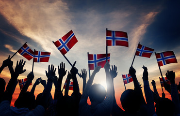 Group People Waving Norwegian Flags Back Lit Concept