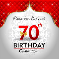 celebrating 70 years birthday, Golden red royal background