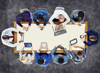 Diverse Using Digital Devices Photo Illustration Concept