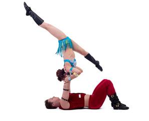 New Year's performance of acrobats in studio