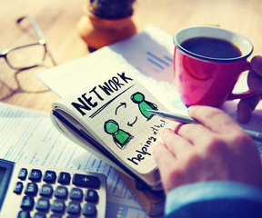 Businessman Network Helping Other Concept