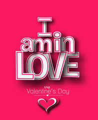 I'm in Love text made of 3d vector design element.