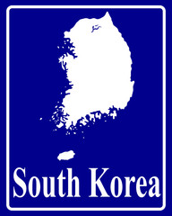 silhouette map of South Korea