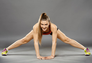 Fitness lady stretching