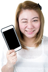 Isolated asian female hand holding the phone