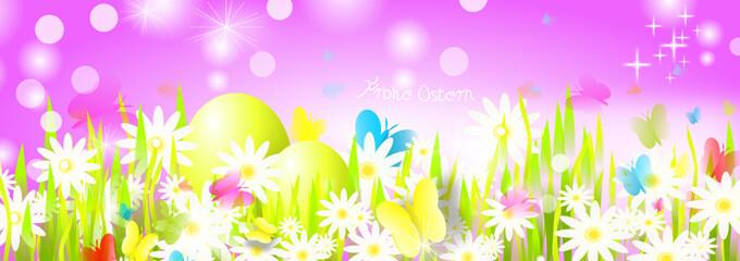 Oster Banner Wiese Gras Grün