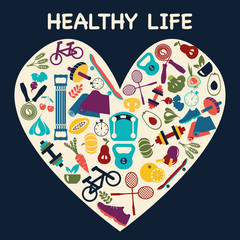 icons about fitness sport and Healthy Lifestyle