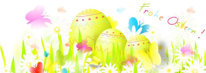 osterei nest Wiese grün Frohe Ostern