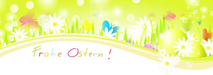Frohe Ostern Banner Wiese Ostereier
