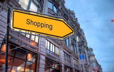 Strassenschild 23 - Shopping
