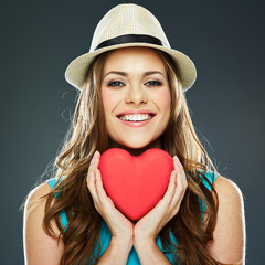smiling woman face portrait with heart .
