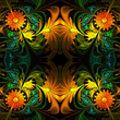 canvas print picture - Flower pattern. Orange, green and black palette. Fractal design.