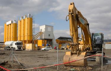 excavator on the building site