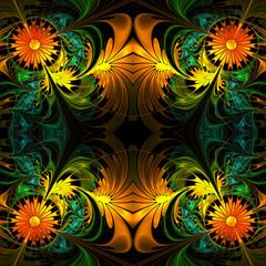 Flower pattern. Orange, green and black palette. Fractal design.