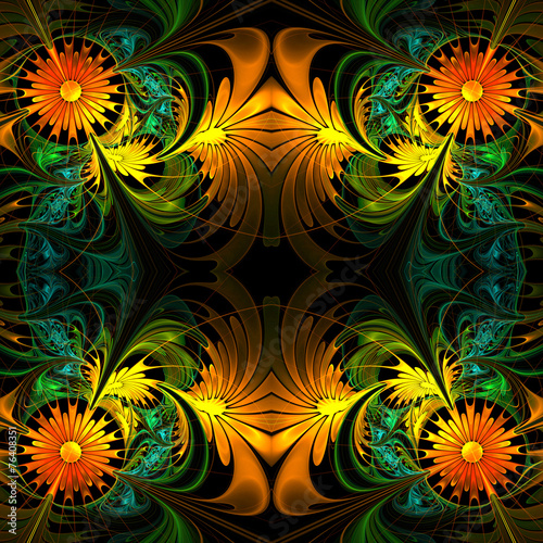 canvas print picture Flower pattern. Orange, green and black palette. Fractal design.