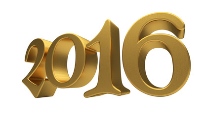 Gold 2016 lettering isolated