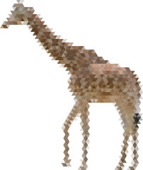 brown giraffe from triangles isolated on white