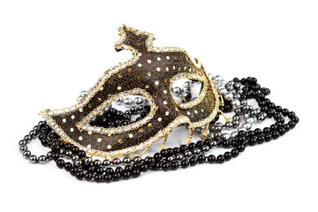 Carnival mask with black and silver pearls