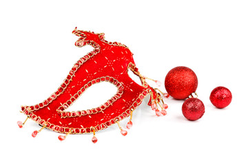 Mask with Christmas ornaments