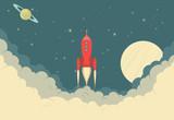 Retro Rocket Spaceship - 76409104