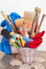 Brushes and pastels for bricolage and paint series