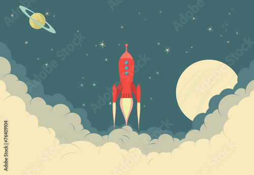 Retro Rocket Spaceship - 76409104