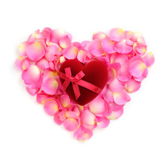 Heart-shaped Gift Box on rose petals