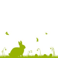 Ostern, Grußkarte, Vorlage, grün, Schmetterlinge, Easter, Hase